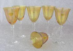 Amber Iridescent Crystal Wine Glasses-PRETTY!