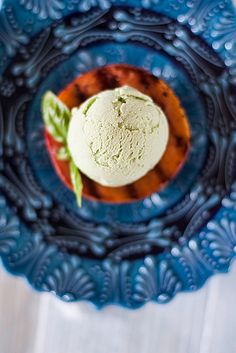 Grilled Peaches with Basil Ice Cream and Pine Nut Crocante