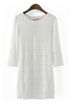White Hollow-out O-neck Lace Dress