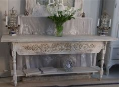 Handmade antique wood french painted table sideboard. Love the distressing. Painted Furniture.