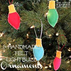 #Handmade #Felt Christmas Bulb Ornaments make the perfect gift this holiday season via www.waittilyourfathergetshome.com #Christmas #bulbs #ornaments #kidfriendly #christmastree