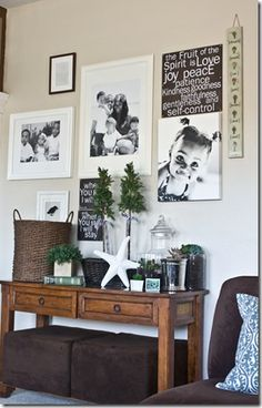 I really like this idea. Especially the black and white photos on the wall, adds a nice touch I think.