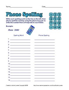 Free Phone Spelling Worksheet - Use with Any List!