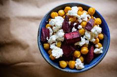 Curried Chickpeas with Roast Beets and Feta--probably with sausages on the side.