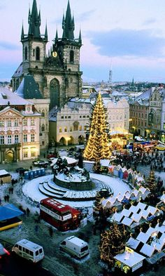 Prague, Czech Republic. I know it's not winter but this would be a lovely place to spend Christmas.