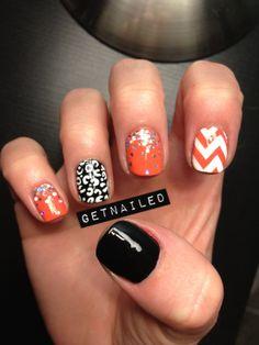 Chevron, glitter, and cheetah nails @Lauren Davison Davison Cavanaugh can you do my nails like this for halloween? ;)