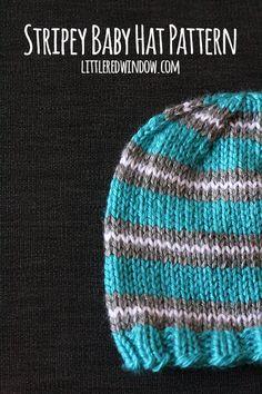 Stripey Baby Hat Knitting Pattern | littleredwindow.com