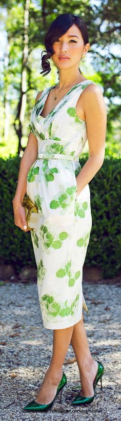 . green shoes, summer dresses, spring dresses, green white outfit, green heels outfit, classic summer fashion, street styles, green dress, floral dresses