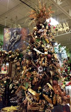 #Bronze and Copper Christmas tree. #Christmas at Arcadia Floral & Home Decor Showroom.