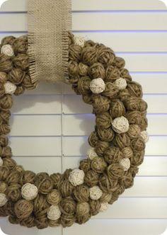 christmas wreaths, tutorials, ball, twine, brussels sprouts, diy tutorial, blog, winter wreaths, yarn wreaths
