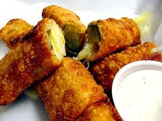 Deep Fried Pickle Spears with Creamy Jalapeno Ranch Dressing