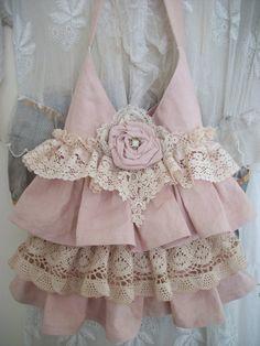 shabby roses patterns, lace handbag, pink linen, rose brooch