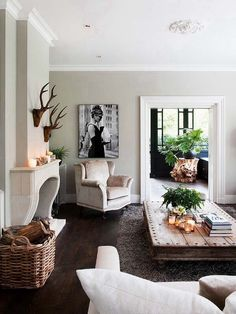 living rooms, room idea, horn, rustic chic living room, live room