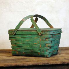 Vintage Green Wood Picnic Basket