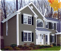 Exterior house color material ideas on pinterest vinyl for Vinyl siding and shutter color combinations