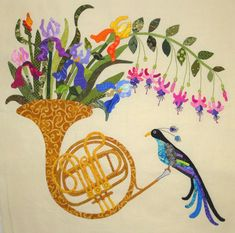 Iris Garden French Horn block | Music Themed Quilt Pattern at Fabric Therapy Online