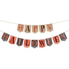 This Halloween party garland is easy to assemble and wonderfully festive! Thread the twine through the holes of each pennant to create a beautiful and spooky garland.  Contains 17 pennants (letters an