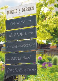 """This vintage inspired wooden sign board has style and function all wrapped into one. One side has been prepared with chalkboard paint to allow """"instant messaging"""" while the back side is a white washed wood surface for a rustic look. These signs can serve as chair decorations, directional signs, or station markers. Includes pre-drilled holes to make installation a snap. Features and Facts:   18""""x 5"""" 1/2 H  Signs are two-sided (one side chalkboard, one side white washed wood)  Pack ..."""