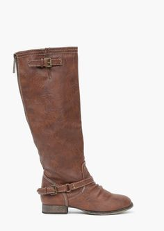 Saddle Knee High Boots in Brown