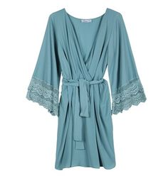 Wrap front mini dress with lace
