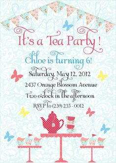 Printable Shabby Chic Tea Party Invites