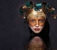 Teal and gold..mardi gras party mask..