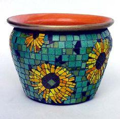 mosaic pots | sunflowers mosaic glass tiles bisazza italian mosaic tile 10 5 inches ...