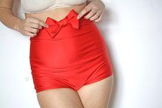 Bow High Waist Bikini red by MimiHammer on Etsy. $50.00 USD,