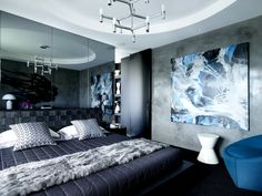 bedroom decor (faux fur only) interior design, architects, bedroom decor, interiors, bays, blue bedrooms, fur, apartments, greg natal