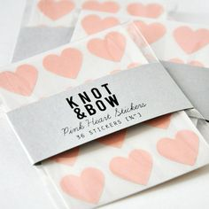 144 Pink Heart Stickers FREE SHIPPING by knotandbow on Etsy