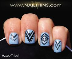 Aztec Nail Decal Tribal nail art designs by NAILTHINS | NAILTHINS