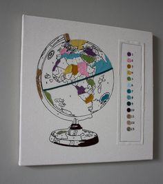 """""""Paint-by-number"""" globe wall hanging! $75 #etsy"""