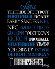 Detroit Lions Print by SportingStandouts on Etsy
