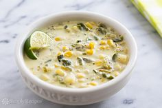 Rich corn chowder with roasted poblanos, fresh corn, potatoes, onions, stock, and cream.