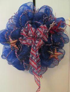 Patriotic Deco Mesh Wreath    Handmade by Doris2618 on Etsy, $30.00