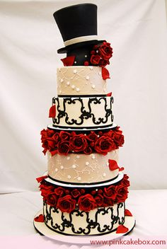 pink cakes, wedding cakes, red roses, cake boxes, hollywood theme, rose cake, top hats, theme weddings, red black