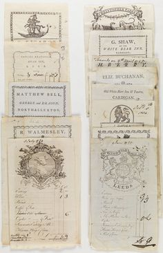 English & Welsh Inn Receipts, 1780's