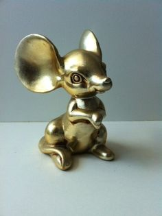 Vintage golden Mouse by AmicTony on Etsy, $14.00