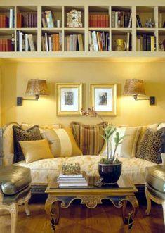 Space saving book shelves.