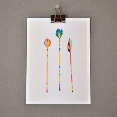 Arrows illustrative print, multi-colored, 5 x 7. $6.00, via Etsy.