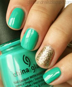 gold nails, china glaze, four leaf clover, mint, nail arts