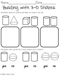 Little Minds at Work:Building w/ 3D shapes!  Freebie!