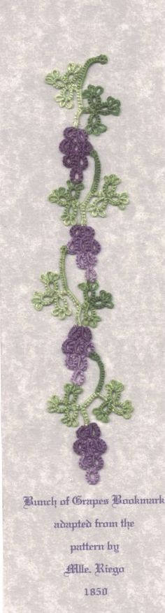 tatted grapevine bookmark pattern, grapevin bookmark