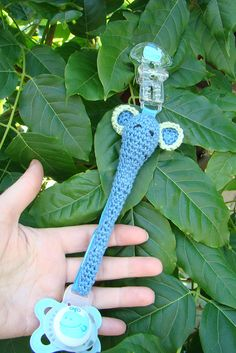 crochet elephant pacifier clip, via Flickr. @Charlotte Matthews, you could probably do this!