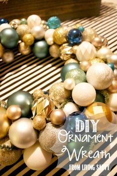 How To   Ornament Wreath with Wire Frame   from Living Savvy