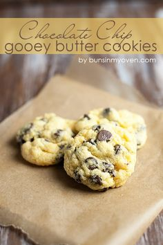 Chocolate Chip Gooey Butter Cookies #recipe by