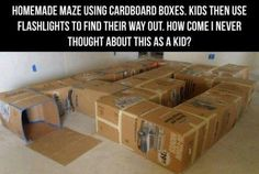 Cardboard maze. My dad used to make us these when I was a kid! Some of my most fun memories were playing in those boxes:)