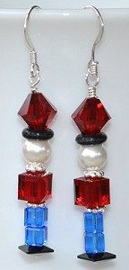 Christmas Toy Soldier Earrings Made with Swarovski Crystal and Pearl Beads.