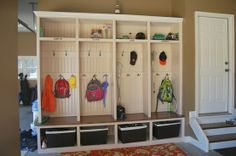 Mud room IN the garage.