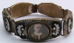 antique wide micro mosaic/Rome photos bracelet